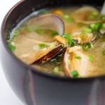 Miso soup made with Asari (Manila Clams).